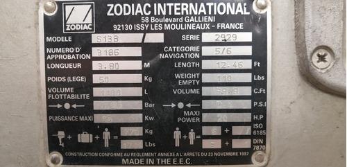 2 botes zodiac 3.8 m zodiac