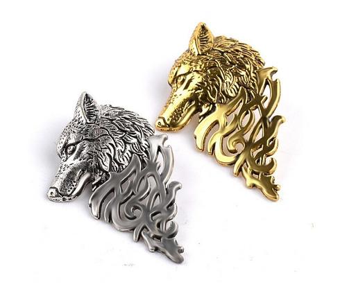 2 broches pin cabeza lobo totem diseño exclusivo b-504 f