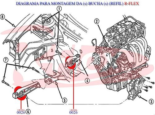 2 buchas gr. calço inferior superior motor pt cruiser 01/11