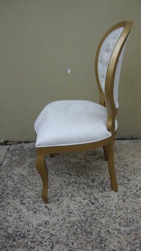 2 cadeira medalhão lisa capitone dourada