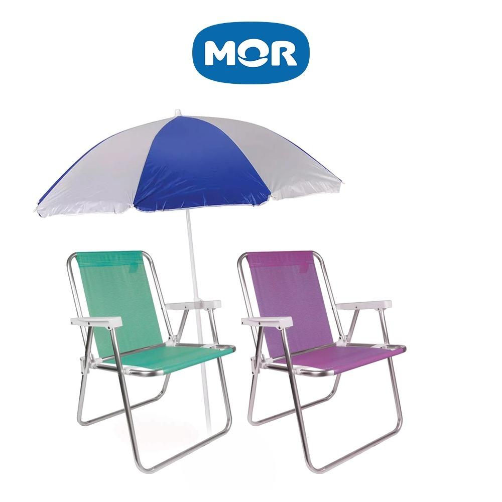 2 Cadeira Praia Alta Alumínio + Guarda Sol Aço Mor - R  224,50 em ... ad521ae6a6