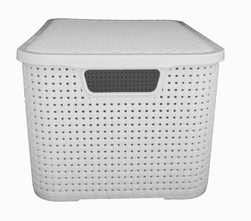 2 caixa organizadora decorativa rattan branca grande