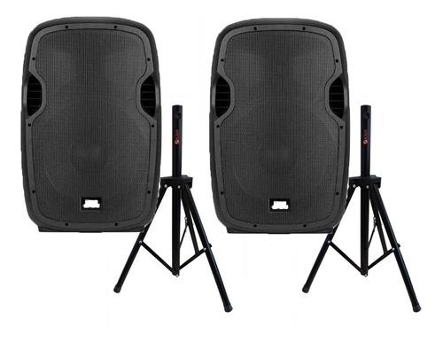 2 caixas de som ampli ativa -15 probass bt/800w + 2 tripe