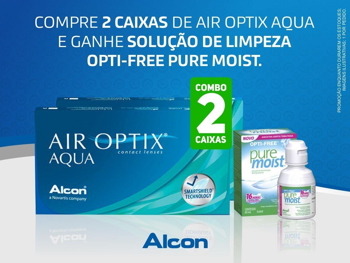 beb1bd0fa4f70 2 caixas lentes de contato air optix aqua com grau + brinde. Carregando  zoom.