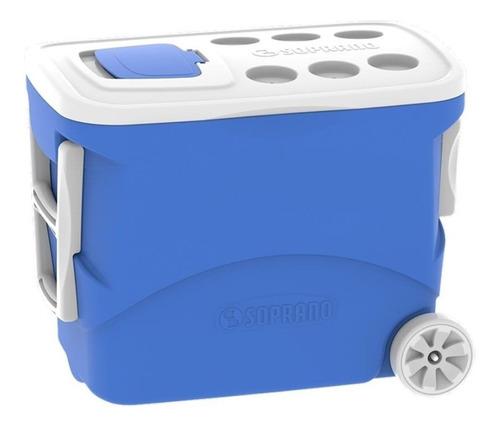 2 caixas térmicas com rodas 50 litros soprano azul