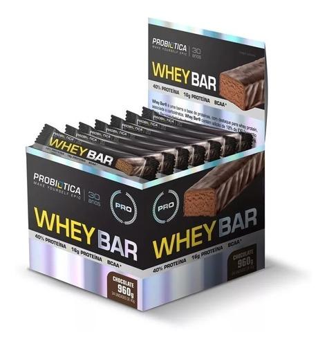 2 caixas whey bar cx 24 un probiótica - barra de proteína
