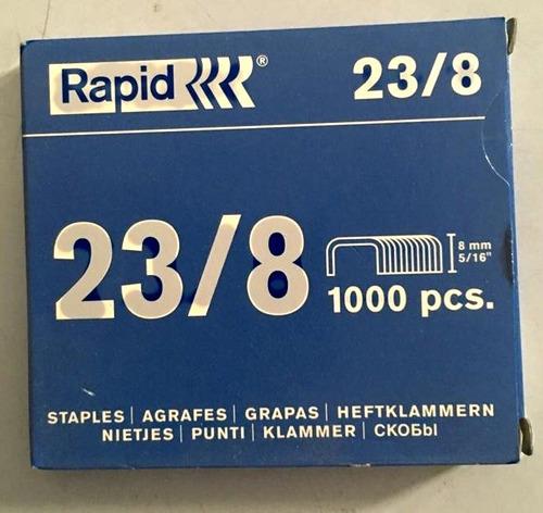 2 cajas grapas 23/8 industrial 1000 piezas rapid  x7verdes