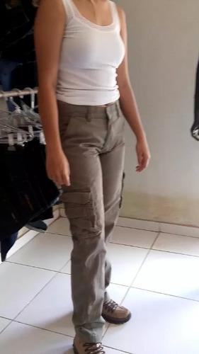 2 calça adventure feminina cargo 6 bolsos