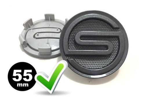 2 calotas miolo tampa p/ centro de roda scorro 55mm grafite