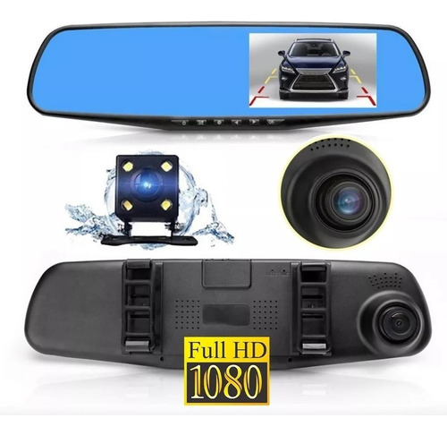 2 cámaras espejo retrovisor frente y trasera graba hd