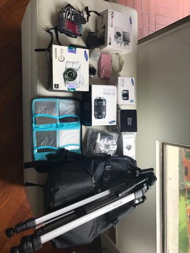 2 camaras samsung, 5 lentes, adaptador para los lentes, etc