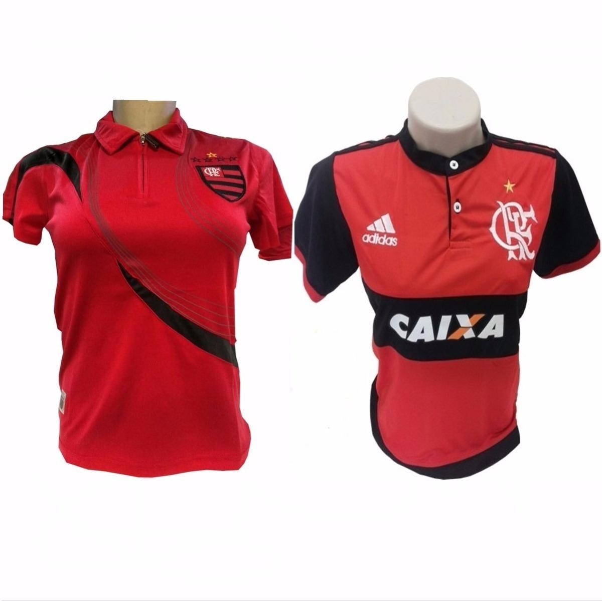 cebc21db15 2 camisa feminina do flamengo polo baby look preta vermelha. Carregando  zoom.