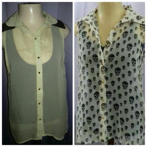 2 camisas em chiffon transparente busto 100 cms  - seminovas