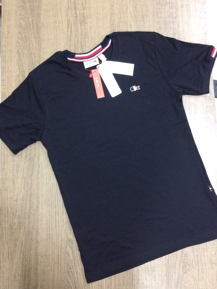 ba5187b5d9c0b Camiseta Lacoste Graphic Tennis TH7976 Marinho. Carregando zoom.