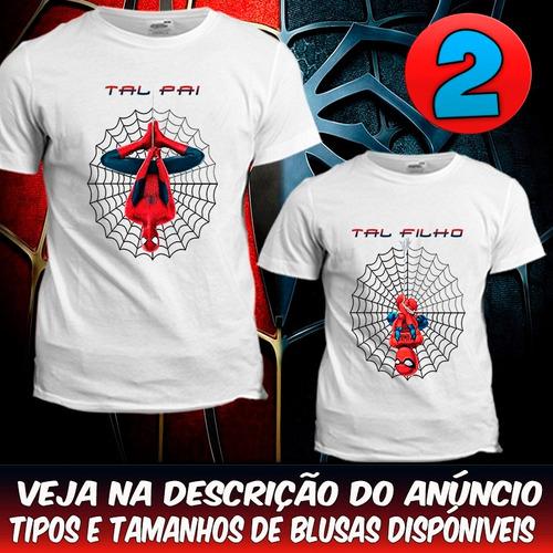 2 camisetas tal pai tal filho homem aranha blusa spiderman