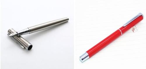 2 canetas tinteiro baoer 3035 aço inox + 801 vermelha