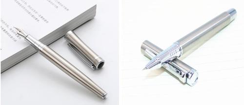 2 canetas tinteiro baoer 3035 e 801 inox + 6 cartuchos tinta