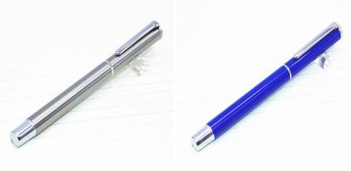2 canetas tinteiro baoer 801: aço inox e azul. barato