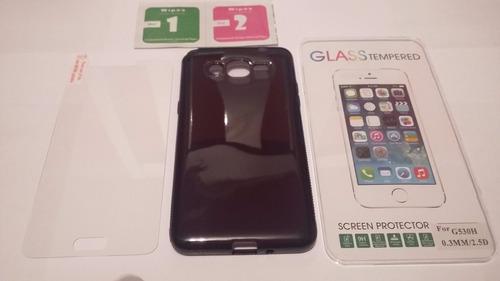 2 capas + 2 pelicula de vidro galaxy gran prime duos tv g530
