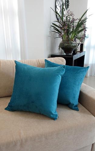 2 capas almofadas lisa cor azul pavão 43x43cm