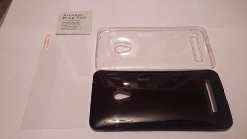 2 capas fumê + transparente asus zenfone 5 + pelicula vidro