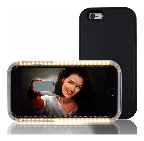 2 carcasa luminosa selfie iphone 6 estuche forro funda 2x1