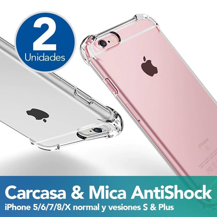 1313773d11a 2 Carcasa Y Mica iPhone Antishock Case Transparente Silicona ...