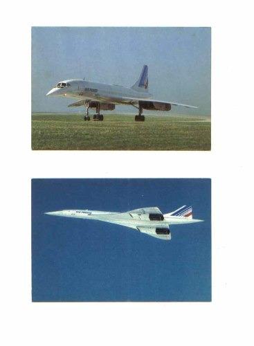 2 cartões postais do avião concorde - importados