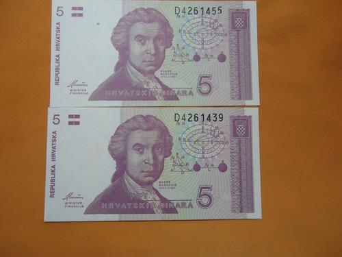 2  cedula de 5  dinara   hrvatska   fe - 1991  comfira