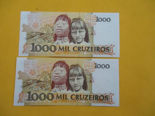 2 cédulas c217  de 1000  cruzeiros     1990- fe