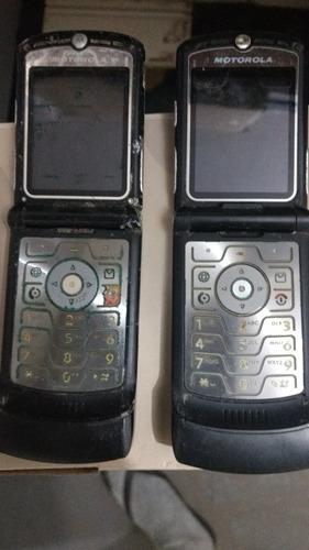 2 celulares antigos motorola v3 (defeito) no estado