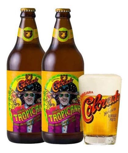 2 cervejas morena tropicana 600ml + 1 copo colorado 350ml