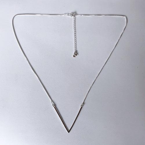 2 colar gargantilha olho grego e v prata legítima - conjunto