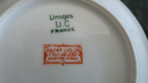 2 compoteras porcelana limoges bordes en oro
