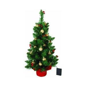 2 'con pilas árbol de navidad de mesa con las bayas rojas y