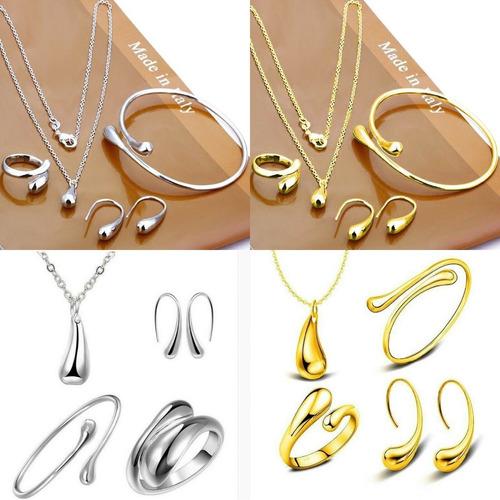 2 conjuntos colar, pulseira, anel, brincos (dourado+prateado