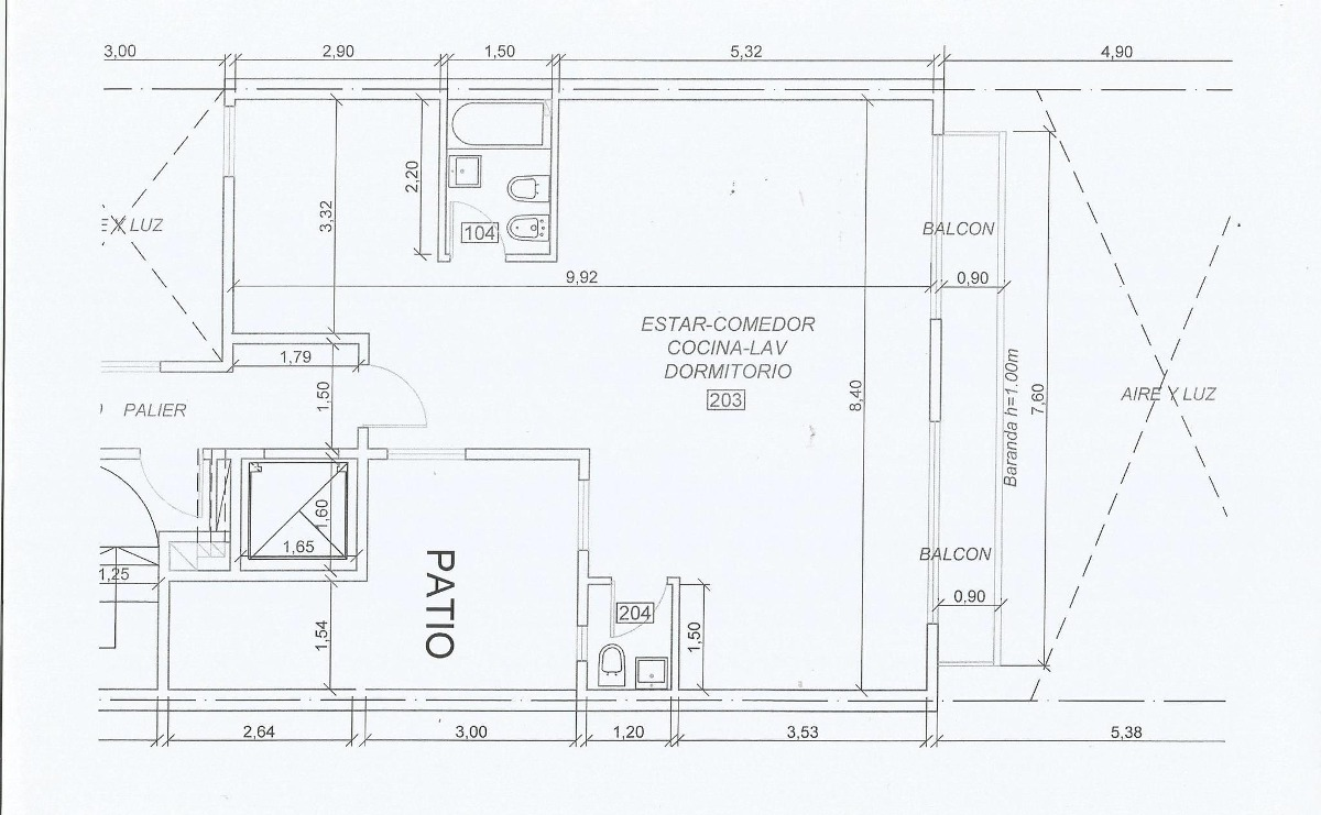 (2° contrafrente) departamento 3 ambientes con balcón y patio
