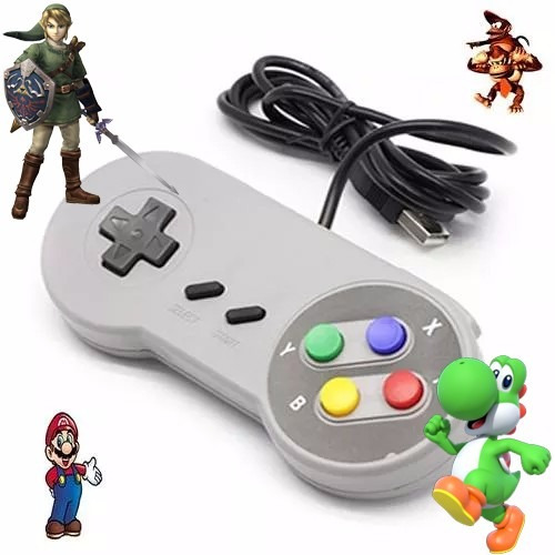 2 controle snes usb + emulador super nintendo +7784 patches