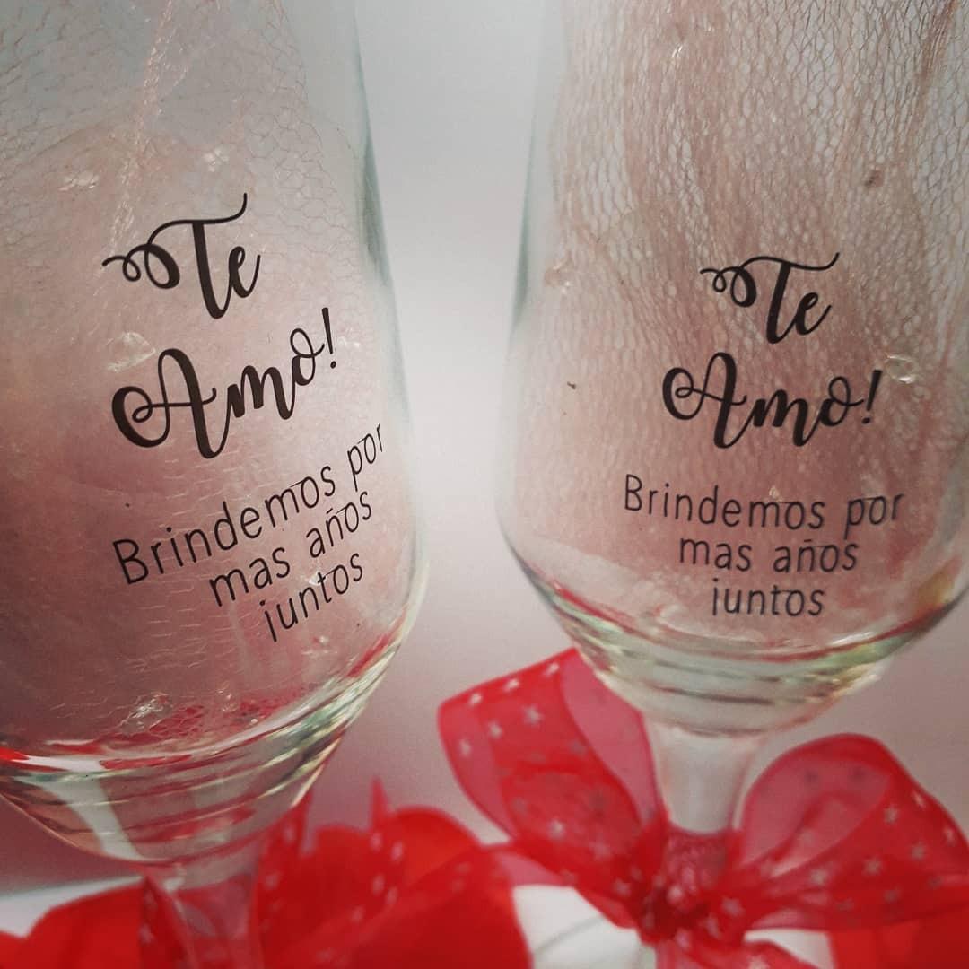2 Copas Champagne Navidad Y Fiestas Con Frase Y Moño Regalos