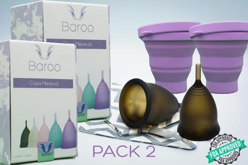 2 copas menstruales baroo cup + 2 vasos esterilizadores