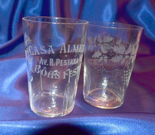 2 copos antigos vidro jateado de areia casa almeida anos 30