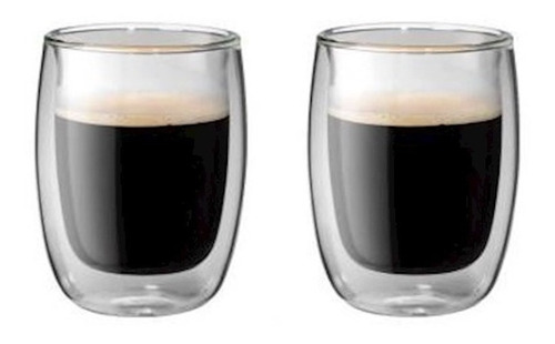 2 copos vidro parede dupla cappucino 200ml sorrento zwilling