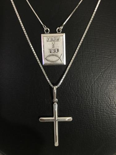 2 corrente prata maciça 925 placa e crucifixo 70cm e 60cm