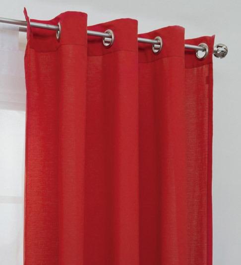 2 cortinas ferrara rojas con argollas vianney envio gratis
