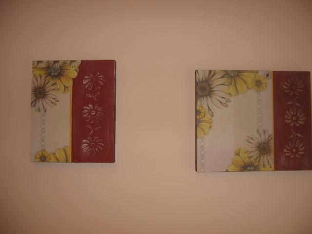 2 cuadros bastidores laminas con flores en enduido for Laminas cuadros