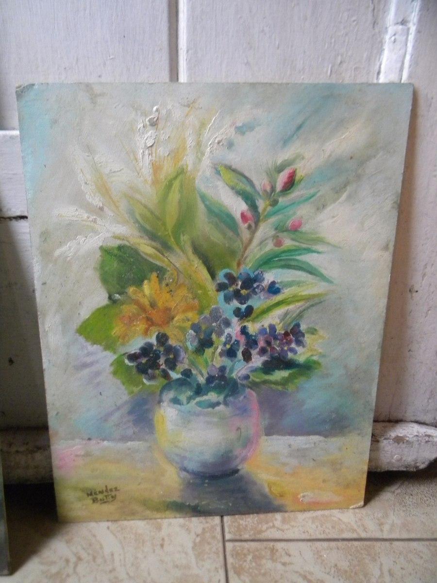 2 Cuadros De Flores Pintados En Acrilico 199 199 00 En Mercado