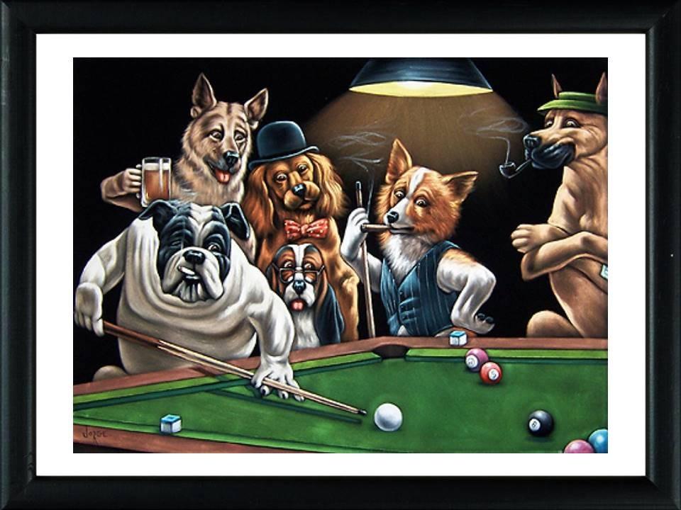 2 Cuadros De Perros Jugando Al Pool Deco Hogar Bar Pub 2 400