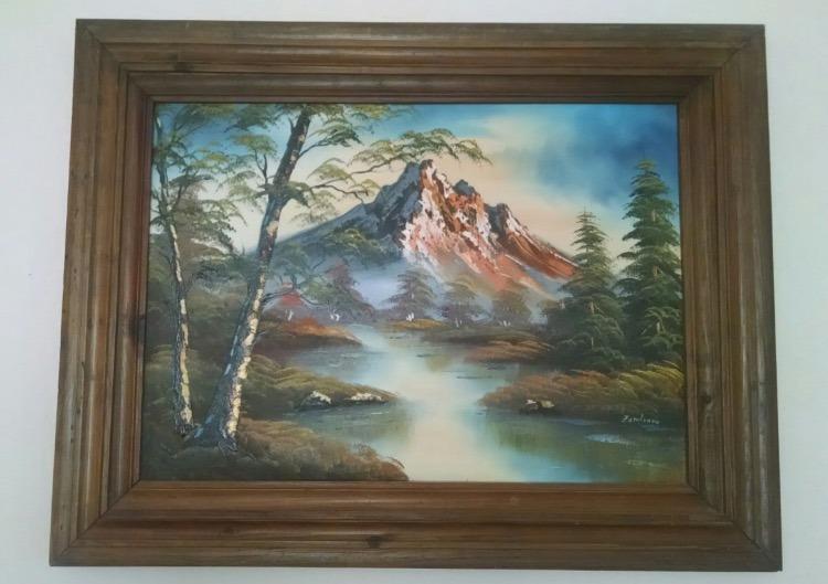 2 cuadros grandes al leo paisaje fino marco de madera 1 en mercado libre - Marcos para cuadros grandes ...