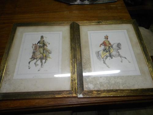 2 cuadros husares con marco de madera y vidrio ! a $299