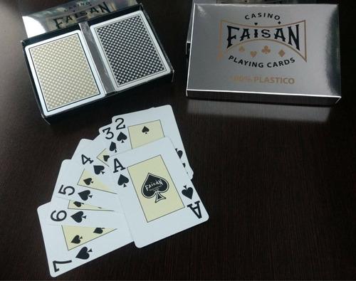 2 decks de barajas faisan poker 100% plástico calidad casino